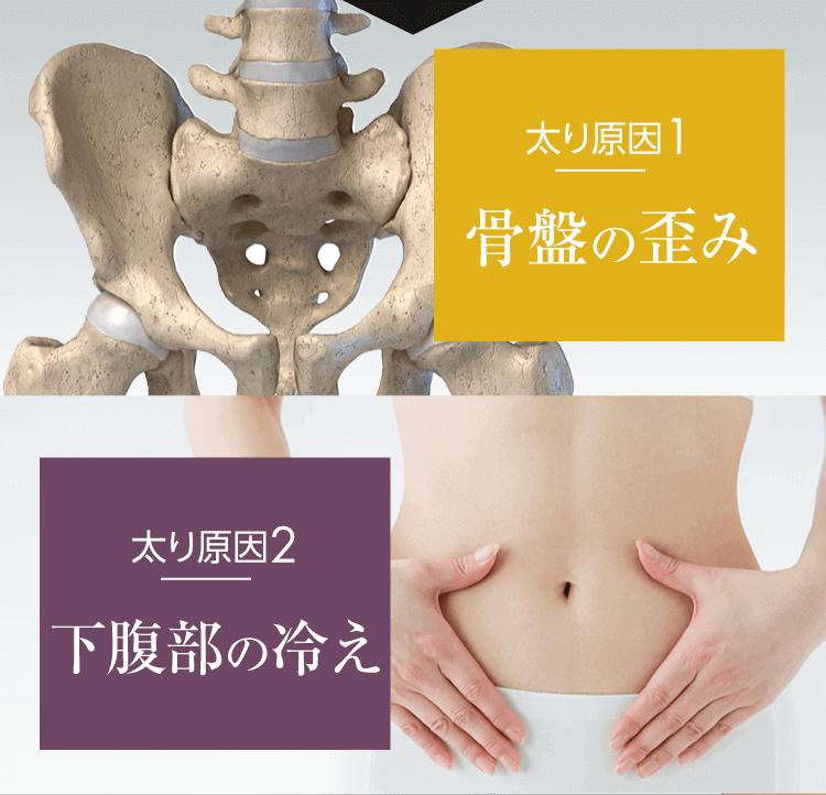 太り原因1 骨盤のゆがみ 太り原因2 下腹部の冷え